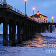 Manhattan Beach Pier Crashing Surf Poster
