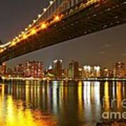 Manhattan Bridge By Night Poster