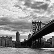 Manhattan Bridge In Bw Poster