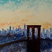 Manhattan Bridge With Skyline Of New York City Painting By