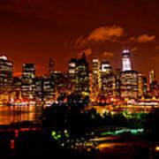 Manhattan Night Skyline Poster
