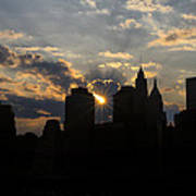 Manhattan Skyline At Sunset Poster