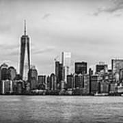 Manhattan Skyline Black And White Poster