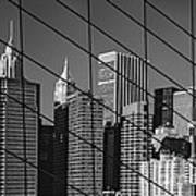 Manhattan Through The Brooklyn Bridge Poster