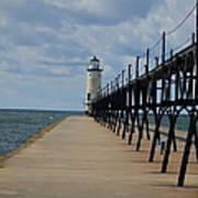 Manistee Lighthouse And Walkway Poster