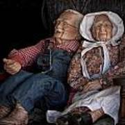 Mannequin Old Couple In Shop Window Display Color Photo Poster