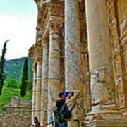 Many Photographers At Library Of Celsus-ephesus Poster