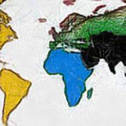 Map Digital Art World Poster