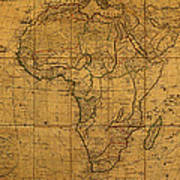 Map Of Africa Circa 1829 On Worn Canvas Poster