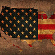 Map Of America United States Usa With Flag Art On Distressed Worn Canvas Poster