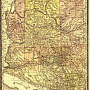 Map Of Arizona 1883 Poster