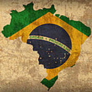 Map Of Brazil With Flag Art On Distressed Worn Canvas Poster