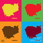 Map Of Cambodia Pop Art Poster