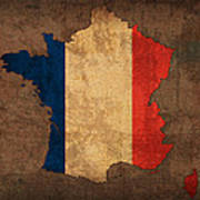 Map Of France With Flag Art On Distressed Worn Canvas Poster by Design Turnpike
