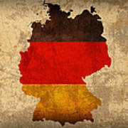 Map Of Germany With Flag Art On Distressed Worn Canvas Poster