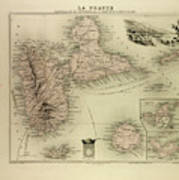 Map Of Guadeloupe St. Martin And St Poster