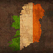Map Of Ireland With Flag Art On Distressed Worn Canvas Poster