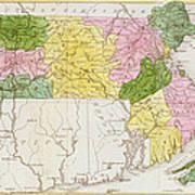 Map Of Massachusetts, From Historical Collections Of Massachusetts, By John Warren Barber, 1839 Poster