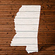 Map Of Mississippi State Outline White Distressed Paint On Reclaimed Wood Planks. Poster