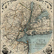 Map Of New York 1891 Poster