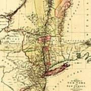 Map Of New York And New Jersey Poster
