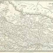 Map Of North India Nepal And Allahabad Poster