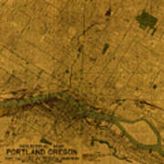 Map Of Portland Oregon City Street Schematic Cartography Circa 1924 On Worn Parchment  Poster