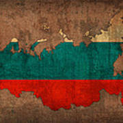 Map Of Russia With Flag Art On Distressed Worn Canvas Poster