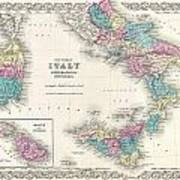 Map Of Southern Italy Sicily Sardinia And Malta Poster