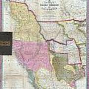 Map Of Texas Oregon And California Poster