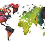 Map Of The World Red Green Poster