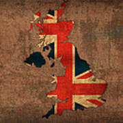 Map Of United Kingdom With Flag Art On Distressed Worn Canvas Poster