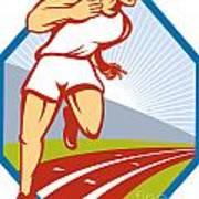 Marathon Runner Running Race Track Retro Poster