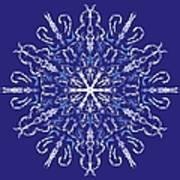 Marbleized Snowflake Kaleidoscope Poster
