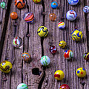 Marbles On Wood Poster