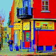 Marche Unique Cafe Sandwich Depanneur Rue St. Jacques St. Henri  Street Scenes Carole Spandau Poster