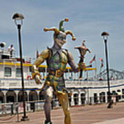 Mardi Gras Jester And River Boat Poster