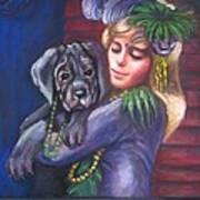 Mardi Gras Puppy Poster