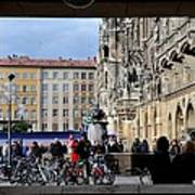 Mareinplatz And Glockenspiel Munich Germany Poster