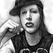 Marilyn Manson Art Drawing Sketch Portrait Poster