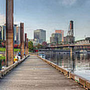 Marina Along Willamette River In Portland Oregon Downtown Poster