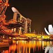 Singapore Cityscape At Marina Bay Sands Poster