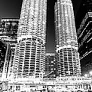 Marina City Towers At Night Black And White Picture Poster