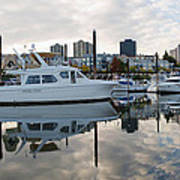 Marina On Willamette River In Portland Oregon Downtown Poster