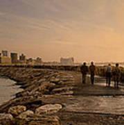 Marina Pier And Pan Of Coast Poster