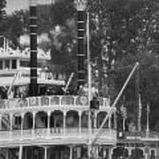 Mark Twain Riverboat Frontierland Disneyland Vertical Bw Poster