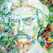 Mark Twain - Watercolor Portrait Poster by Fabrizio Cassetta