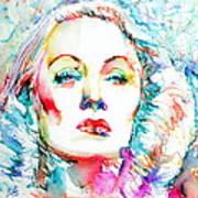 Marlene Dietrich - Colored Pens Portrait Poster