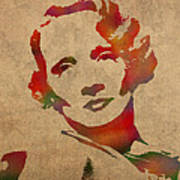 Marlene Dietrich Movie Star Watercolor Painting On Worn Canvas Poster