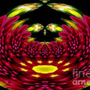 Maroon And Yellow Chrysanthemums Polar Coordinates Effect Poster